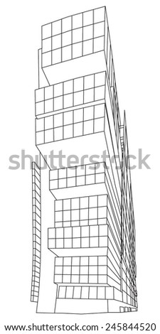 MANCHESTER, UK - JANUARY 21, 2015: Line illustration of the Manchester Civil Justice Centre, completed in 2007, it houses Manchester's county court and the District Registry of the High Court - stock vector
