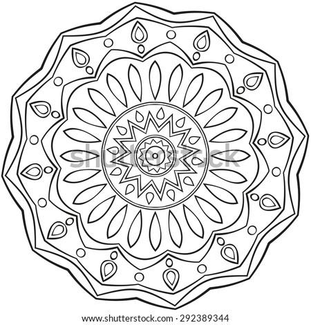 Mandala black outlines on white background - stock vector