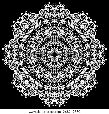 mandala, circle decorative spiritual Indian symbol of lotus flower, round ornament pattern, black and white vector illustration - stock vector