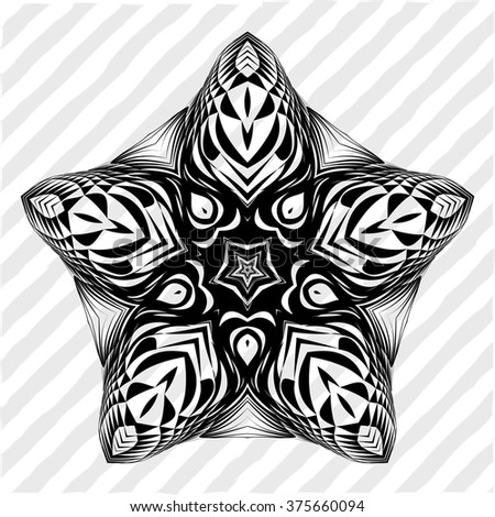 Mandala, circular pattern. A round pattern pattern for your designs. Vector abstract black and white round pattern.