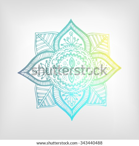 Mandala color gradient. Isolated object. The image can be used for your business as an advertisement in yoga studios, shaping, health centers, fitness - stock vector
