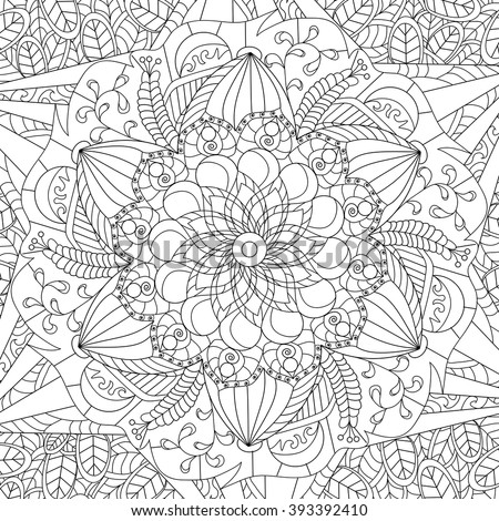 Zen Mandalas Coloring Book : Mandala flower coloring book adults vector stock 561564631