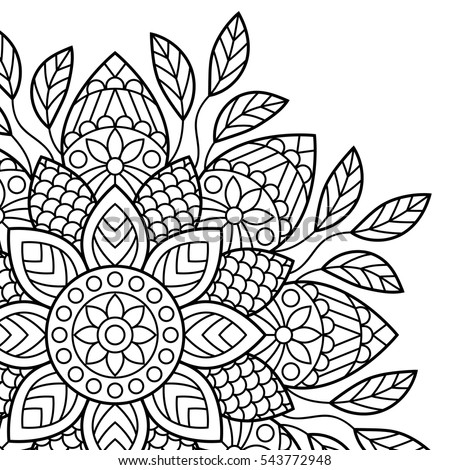 Mandala Coloring Book Pages Indian Antistress Medallion Abstract Islamic Flower Arabic Henna