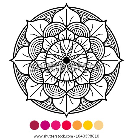 Mandala Coloring Page For Adults Antistress With Color Sample On White Background Vector