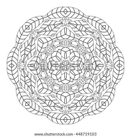 mandala coloring page monochrome circular oriental stock vector