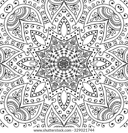 Mandala. Coloring page. Vintage decorative elements. Oriental pattern, vector illustration.  Islam, Arabic, Indian, turkish, pakistan, chinese, ottoman motifs - stock vector