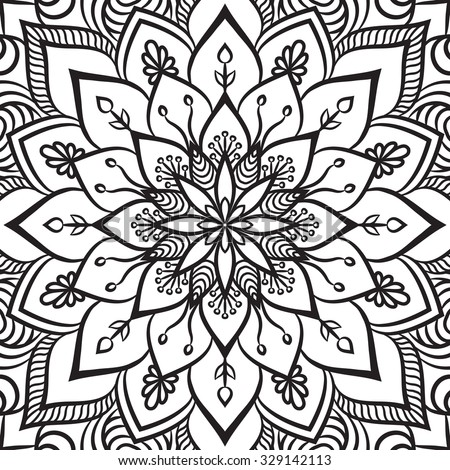 Vintage Patterns Coloring Pages. Coloring page  Vintage decorative elements Oriental pattern vector illustration Islam Mandala Stock Images Royalty Free Vectors