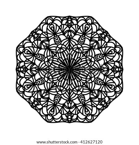 Mandala. Ethnic decorative elements. Hand drawn background. Islam, Arabic, Indian, ottoman motifs. Vintage decorative elements. Oriental pattern. Monochrome contour mandala. Zentangle.