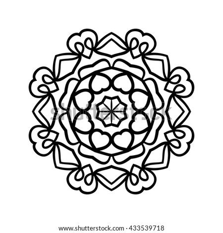 Mandala. Ethnic decorative elements. Hand drawn background. Islam, Arabic, Indian, ottoman motifs. Vintage decorative elements. Oriental pattern. Monochrome contour mandala.