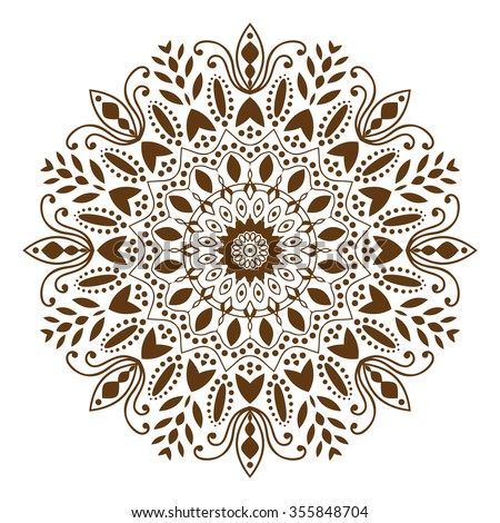 Mandala. Ethnic decorative elements, round ornament circular ornament yoga design meditation indian arabic henna asian  islam bohemian tribal religion motif. White background. Vector illustration - stock vector