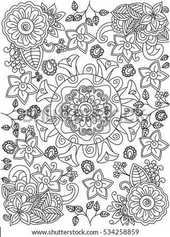 Mandala Flower Coloring Book Adults Vector Stock Vector 534258859 ...