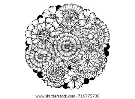 Mandalaflowers Black White Adult Coloring Book Stock Vector ...