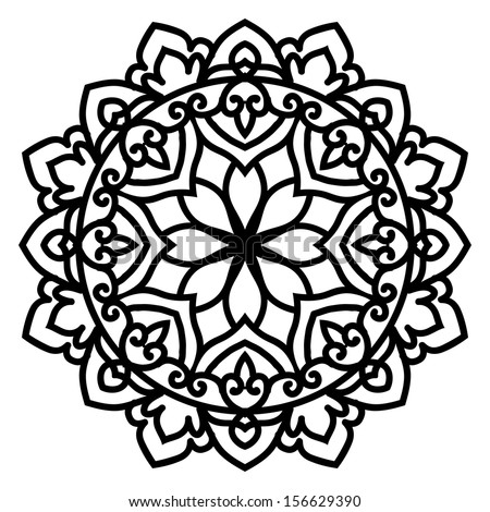 Mandala For Painting. Vector Circle Ornament. Design Element - stock vector