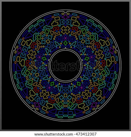 Mandala from a variety of bright multi-colored elements