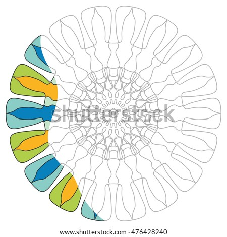 Mandala geometric ornament for coloring book. Zen-doodle style line pattern for coloring page. Decorative vector illustration. Isolated element on a white background