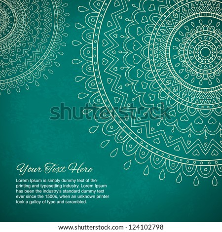 Mandala gift card with ornaments and place for your text - stock vector