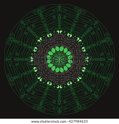 Mandala green. Black background. Traditional motifs. A beautiful web. Dream catcher, magic from the inside. The strings of the web.
