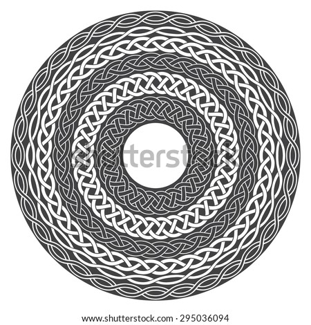 Mandala in esoteric style. Set of isolated rings of celtic braids. Decorative elements for your design. - stock vector