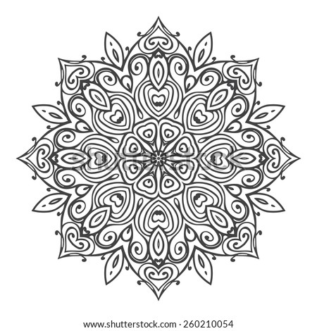 Mandala isolated on white background. Round ornament pattern. Hand drawn elements. Vector illustration - stock vector