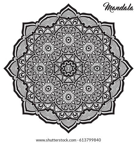 Mandala Line Art For Anti Stress Coloring Book Decorative Flower Round Ornament