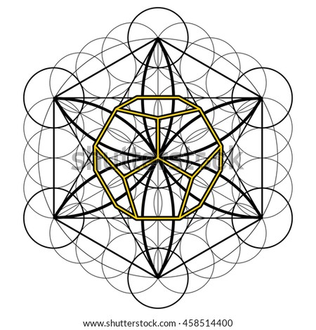 Mandala, Metatron Cube, flower of life, vector illustration. Wallpaper, cloth design, fabric, paper, cover, textile, weave, wrapping.
