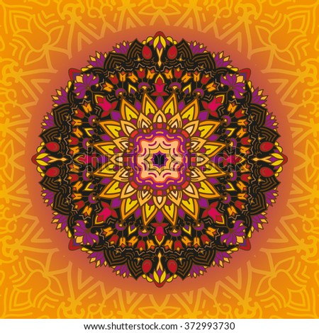 Mandala on gradient color background. Blackmandala with floral pattern. Tracery mandala on orange background. - stock vector