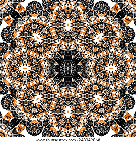 Mandala over gray background. Seamless ornate pattern. - stock vector