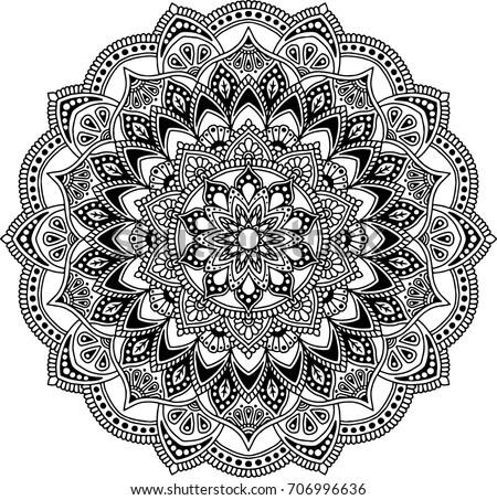 Mandala Pattern Black White Good Mood Stock Vector