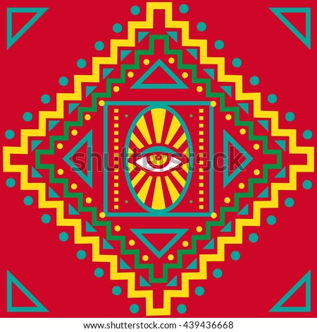 Mandala pattern. Eye. Arabic. Oriental art. Seamless. - stock vector