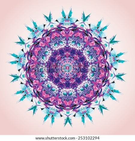Mandala. Round ornament pattern, violet and blue - stock vector