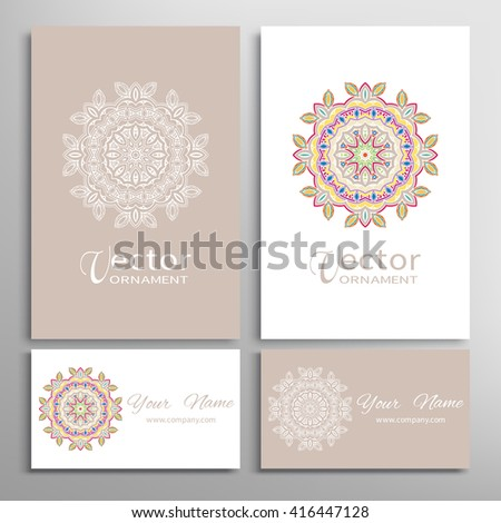 Mandala round ornaments collection, business cards set. Vector decorative design elements for logo, icon, label or invitation cards. Isolated floral mandala pattern, tribal ethnic decoration - stock vector