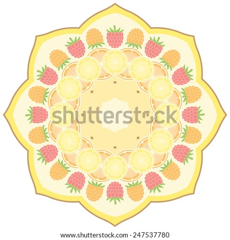 Mandala - round vector ornament with fruit. Geometric circle element. Graphic template for your design. Isolated on white background. - stock vector
