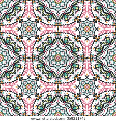 Mandala  seamless  pattern.Vintage vector decorative ornament.Hand drawn background.East,Islam, Arabic, Indian,ottoman motifs.Abstract Tribal ,ethnic texture.Orient, symmetry lace,colored mosaic, tile - stock vector