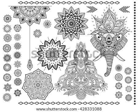 Mandala set and other elements. Vector. Mandala tattoo. elephant, boho style, kaleidoscope, medallion, yoga, india, Arabic. circular pattern, sketch for tattoo - stock vector