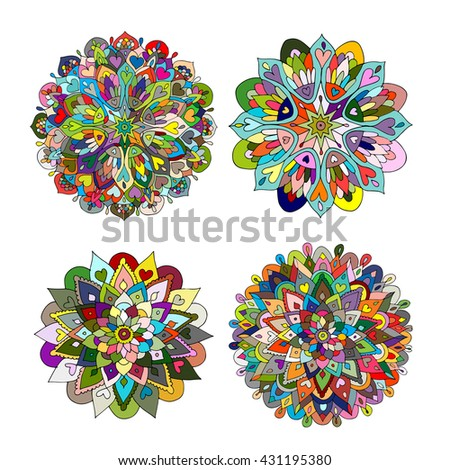 Mandala set, colorful pattern for your design - stock vector