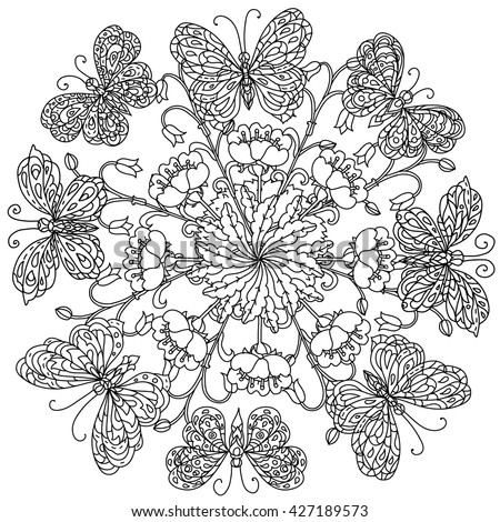 Mandala Shape Flowers Butterfly Adult Coloring Stock Vector ...