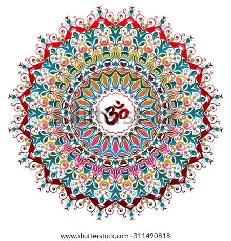 Mandala, tribal ethnic ornament, vector islamic arabic indian pattern, yoga, peace - stock vector
