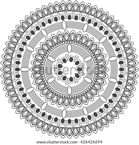 Mandala. Vintage decorative elements.Hand drawn background.Coloring page - zendala, design for spiritual relaxation for adults, vector illustration, isolated on a white background.