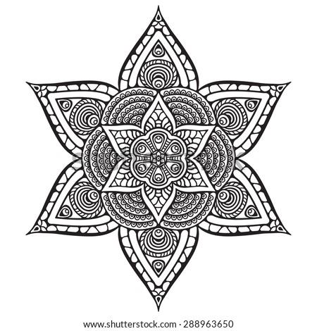 Mandala. Vintage decorative elements. Hand drawn background. Islam, Arabic, Indian, ottoman motifs. - stock vector