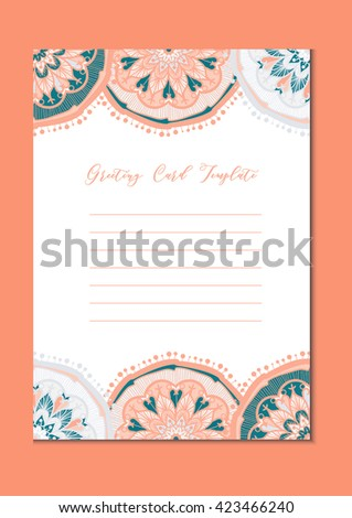 Mandala vintage template card in arabic and indian, islam and ottoman, turkish, asian style for brochure, flyer, greeting, invitation card, cover. Format A4. Floral holiday ornamental design. Vector