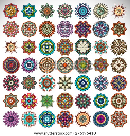 Mandalas collection. Round Ornament Pattern. Vintage decorative elements. Hand drawn background. Islam, Arabic, Indian, ottoman motifs. - stock vector