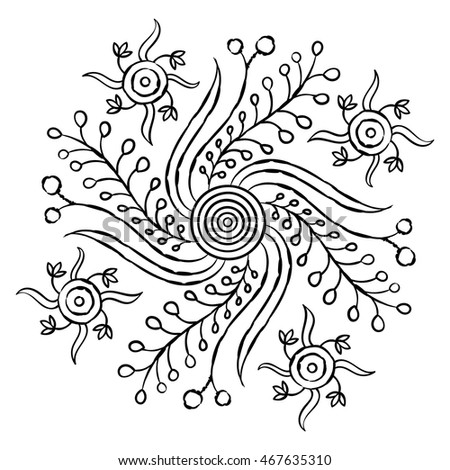 Mandalas. Decorative element. pattern, vector illustration. floral motif, coloring for children and adults