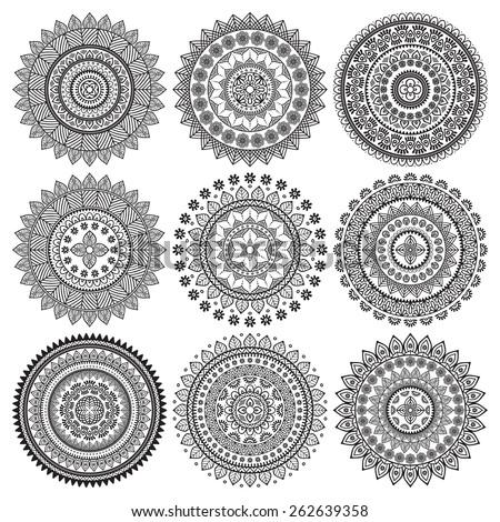 Mandalas. Ethnic decorative elements. Hand drawn background. Islam, Arabic, Indian, ottoman motifs.  - stock vector