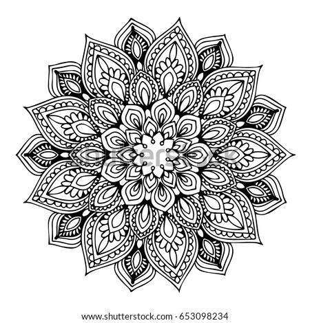 Vector Contour Adult Coloring Black White Stock Vector