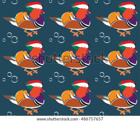 Mandarin duck, vector pattern