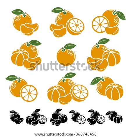 Mandarin set. Vector - stock vector