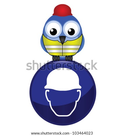 Mandatory construction hardhat sign with bird wearing protection clothing
