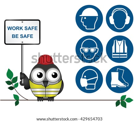 Mandatory construction manufacturing and engineering health and safety icons to current British Standards isolated on white background