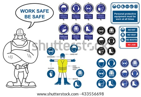 Mandatory construction manufacturing and engineering health and safety signs and icon collection isolated on white background - stock vector