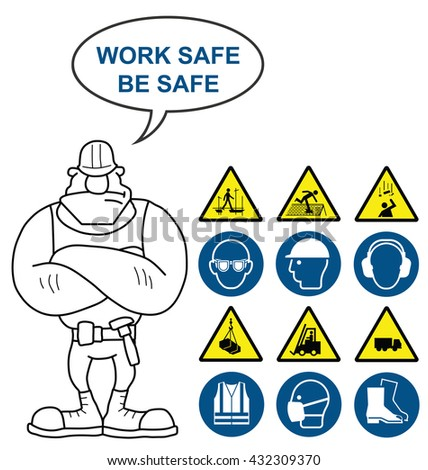 Mandatory construction manufacturing and engineering health and safety signs to current British Standards with work safe be safe message and hazard warning signs isolated on white background - stock vector